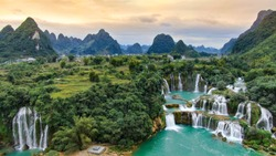 Ban Gioc waterfall, Vietnam, panoramic view. One of the most beautiiful waterfalls in the world.