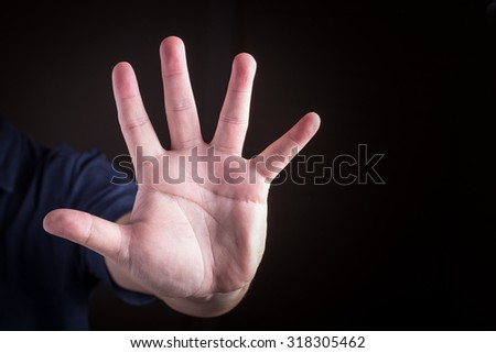 Ban hand. Number five in sign language
