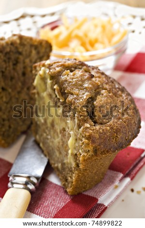 Banana and carrot bran muffins with cheese