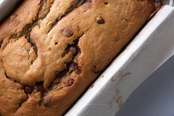Banana bread with chocolate chips, from above