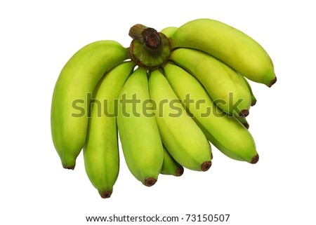 Banana bunch still green isolated on white background