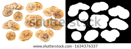 Banana chips, a round dried or sun-dried round pieces isolated
