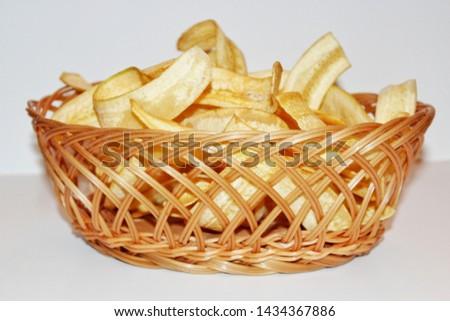 Banana Chips in a Basket, Banana Chips, Sweet Banana Chips, Salty Banana Chips