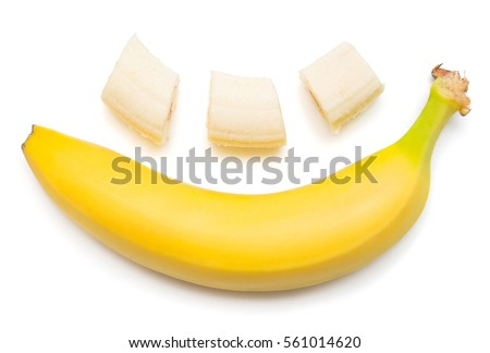 Banana clown with a slice isolated on white background. Flat lay, top view