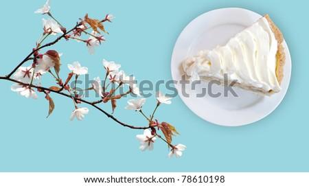 banana cream custard pie on flower blossom blue background