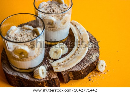 Banana desserts. Desserts with bananas. #1042791442