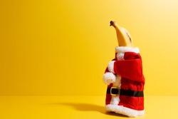 Banana dressed as Santa Claus, prepared for Christmas