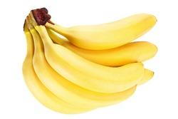 Banana fruit closeup isolated on white background