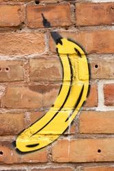Banana-graffiti on a brick wall, backround