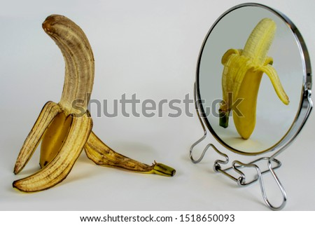 Banana in Mirror Concept, Getting Old, Metaphor, Aging, Ageing