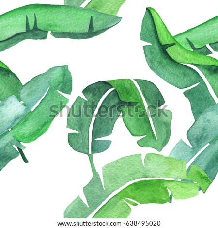 Banana leaves watercolor seamless pattern. Beautiful design for prints, textile and decoration. #638495020