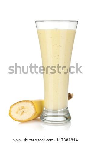 Banana milk smoothie. Isolated on white background