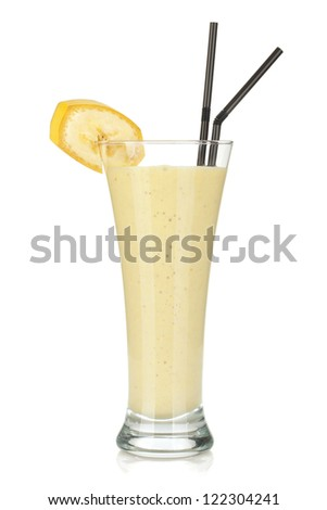 Banana milk smoothie with drinking straws. Isolated on white background - stock photo