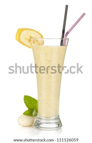 Banana milk smoothie with mint. Isolated on white background