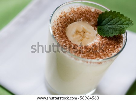 Banana milkshake with cacao and mint