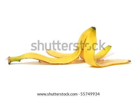 Banana skin isolated on white background
