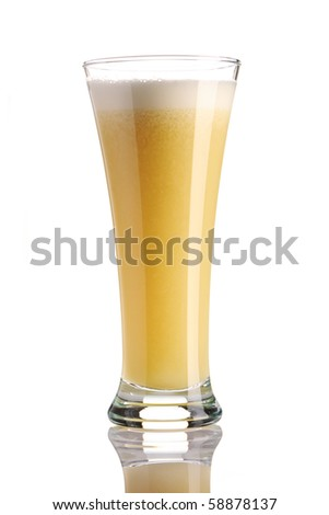 Banana smoothie isolated on white