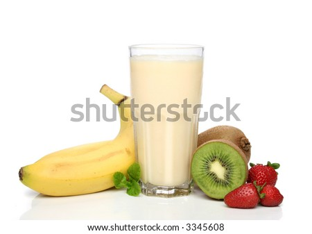 Banana smoothie with fruit composition