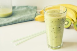 Banana smoothie with kiwi. Healthy food concept