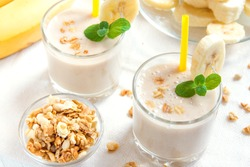 Banana smoothie with oatmeal and mint for healthy breakfast