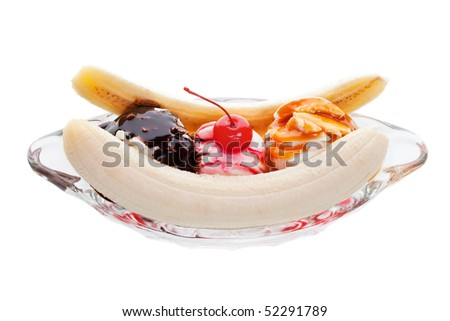Banana split ice cream on a white background