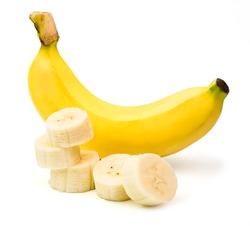 banana with sliced of banana isolated on white background.
