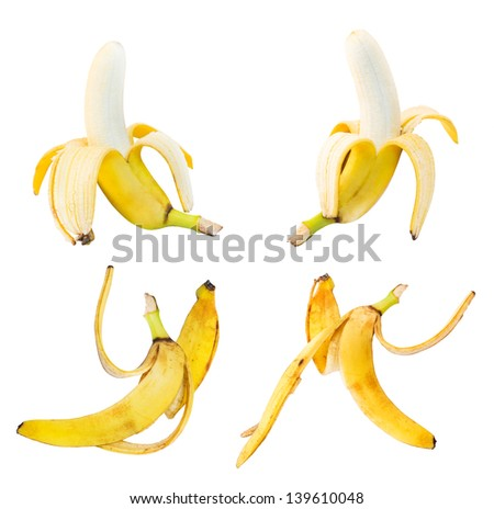 Bananas and peel leftovers set of four isolated over white background