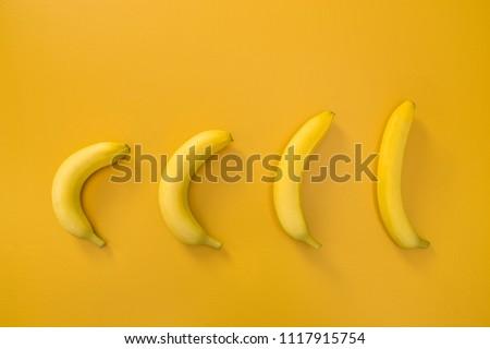 Bananas illustrating evolution theory, on vivid yellow background. #1117915754