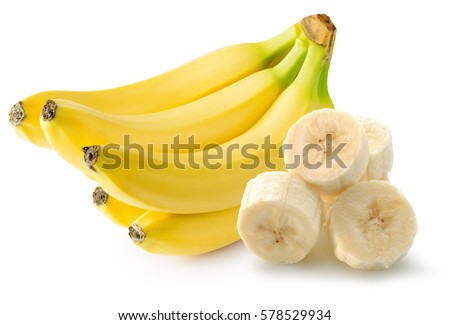 bananas with slices isolated on white background