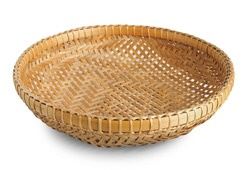 Banboo basket isolated on white background.