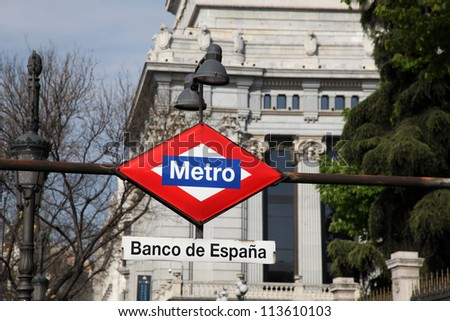 Banco de Espana Metro Station Sign in Madrid Spain