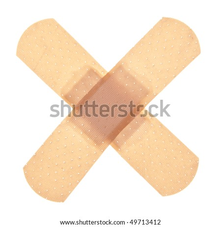 Band aid isolated on white with a clipping path. - stock photo