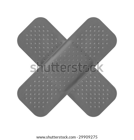 Band Aid Isolated Over A White Background - Black And ...