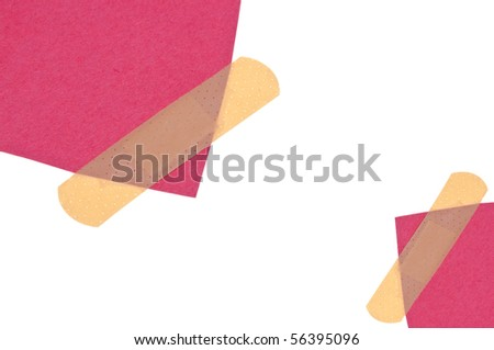 Band Aids with Red and White Border or Background Image Isolated on White with a Clipping Path.