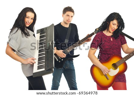 Band group of young people playing musical instruments isolated on white background