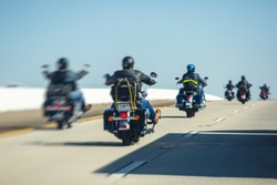 Band of bikers riding on the interstate road, California, group of motorcycles on the Highway, on the way to Las Vegas from Los Angeles in San Bernardino city, California, United States, biker concept