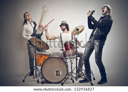 band of musicians plays Foto stock ©