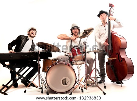 band of musicians with instruments Foto stock ©