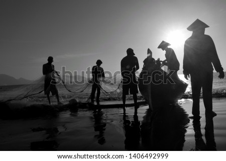 Banda Aceh, Indonesia July 3, 2018 : Lifestyle for Acehnese people. Fishing with a fishing boat on the coast of the village of Java banda aceh #1406492999