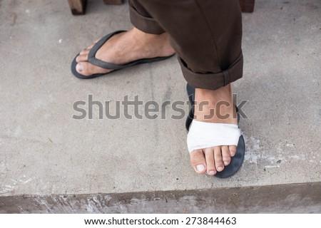 bandaged foot,foot injury