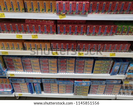 Bandar Bukit Tinggi, Malaysia - 22 July 2018 : Assorted a box of SUNQUICK fruit juices display for sell in the supermarket shelf. #1145851556