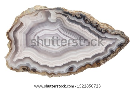 Banded specimen of agate, isolated on a white background. #1522850723
