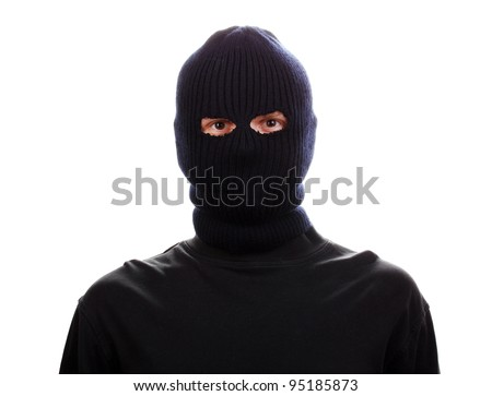 Bandit in black mask isolated on white - stock photo