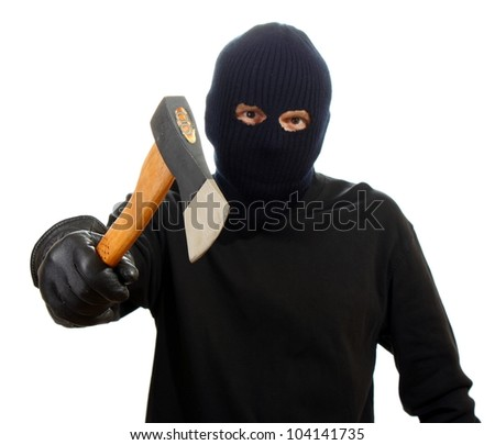 Bandit in black mask with hatchet isolated on white