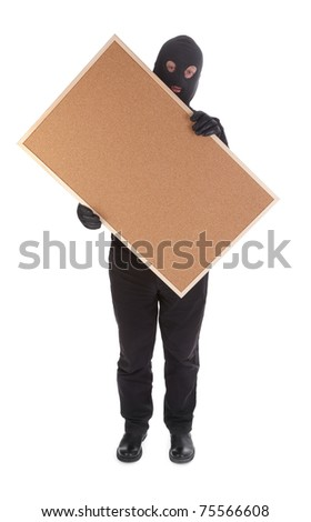 bandit with corkboard isolated on white background