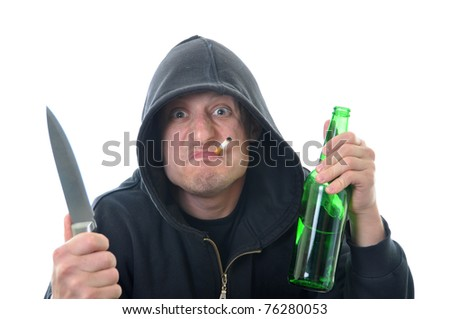 Bandit with knife and bottle of alcohol isolated on white background