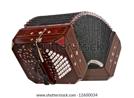 bandoneon, tango instrument, three quarters view, isolated with path