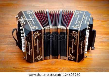 Bandoneon, traditional tango musical instrument.