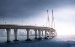 Bandra Worli Sea link bridge in Mumbai, India