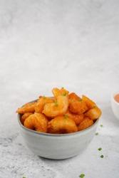 Bang bang Shrimp - batter fried crispy shrimp appetizer, selective focus